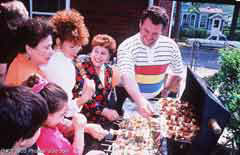 A barbecue party; Size=240 pixels wide